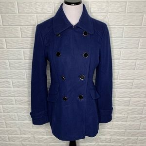 Express Navy Blue Wool Blend Pea Coat